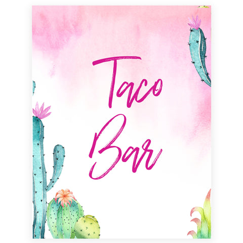 Taco Bar Table Sign - Fiesta