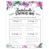Bachelorette Scavenger Hunt - Purple Peonies