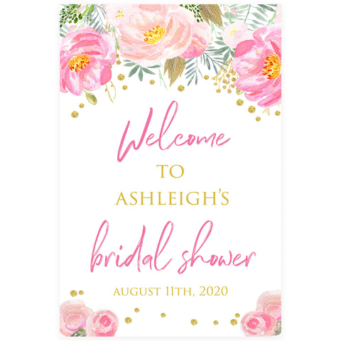 Editable Bridal Shower Welcome Sign - Blush & Gold