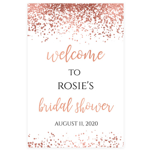 Editable Bridal Shower Welcome Sign - Rose Gold Foil