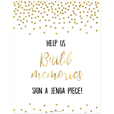 Build Memories Jenga Sign - Gold Foil