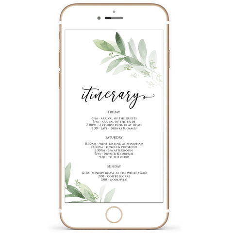 Digital Editable Itinerary Template - Greenery