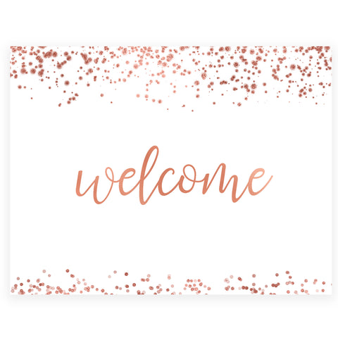 Welcome Table Sign - Rose Gold Foil