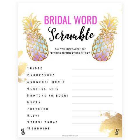 Bridal Word Scramble - Gold Pineapple