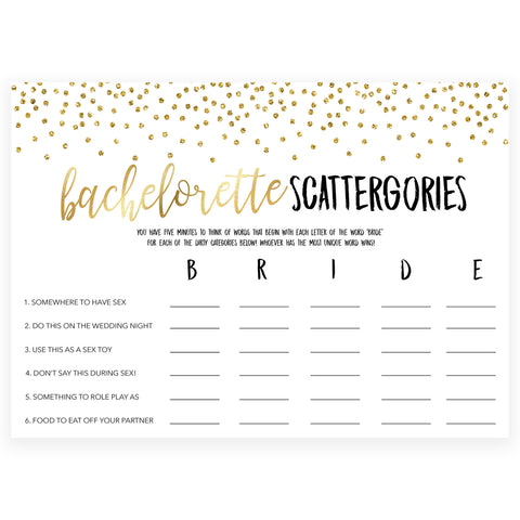 bachelorette scattergories game, Printable bachelorette games, gold glitter bachelorette, friends hen party games, fun hen party games, bachelorette game ideas, gold glitter adult party games, naughty hen games, naughty bachelorette games