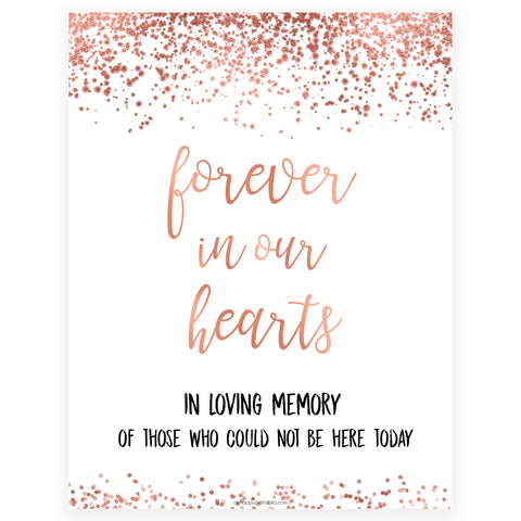 Forever in our Hearts Sign - Rose Gold Foil