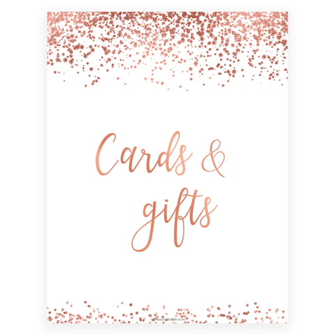 Cards & Gifts Sign - Rose Gold Foil