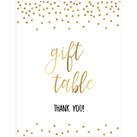 Gift Table Sign - Gold Foil
