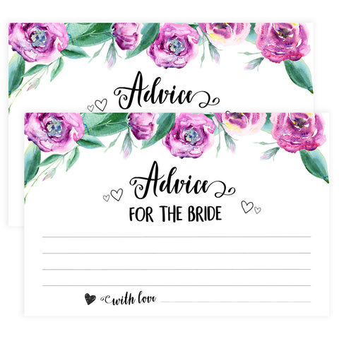 Advice for the Bride Cards - Purple Peonies
