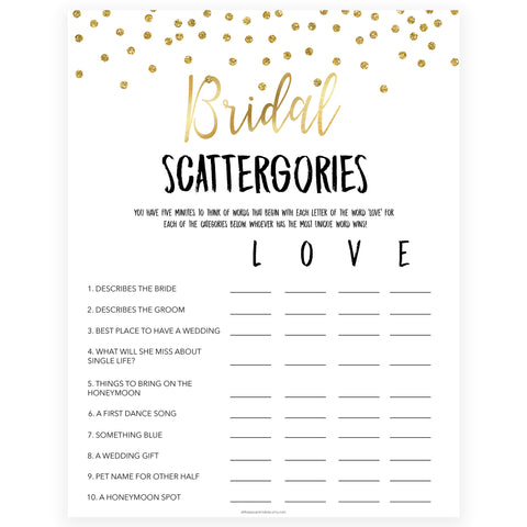 bridal scattergories game, Printable bridal shower games, gold glitter bridal shower, gold glitter bridal shower games, fun bridal shower games, bridal shower game ideas, gold glitter bridal shower