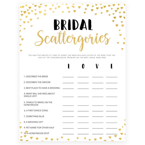 Gold hearts bridal shower games, bridal scatergories, printable bridal games, gold bridal games, gold hearts bridal games, fun bridal games, top bridal games, best bridal games