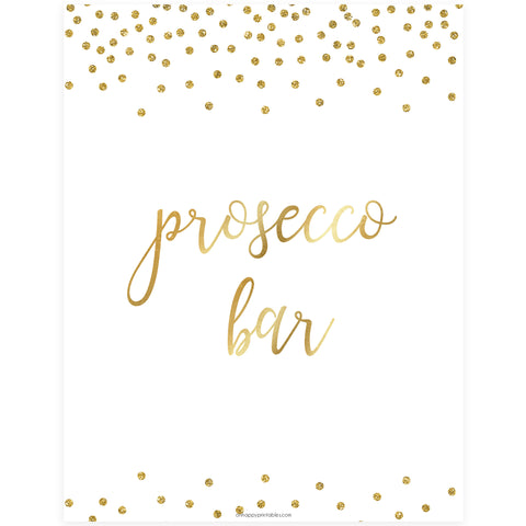 Prosecco Bar Sign - Gold Foil