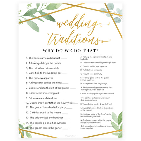 wedding traditions bridal game, Printable bridal shower games, gold floral bridal shower, gold glitter bridal shower games, fun bridal shower games, bridal shower game ideas, gold floral bridal shower