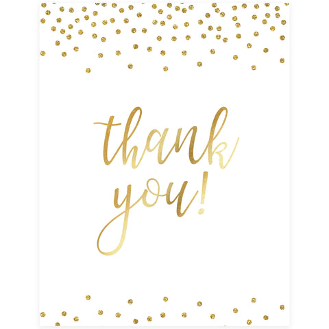 Thank You Table Sign - Gold Foil