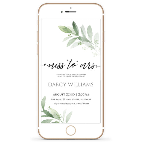 Digital Miss to Mrs Invitation Template - Greenery