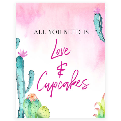Love & A Cupcake Sign - Fiesta
