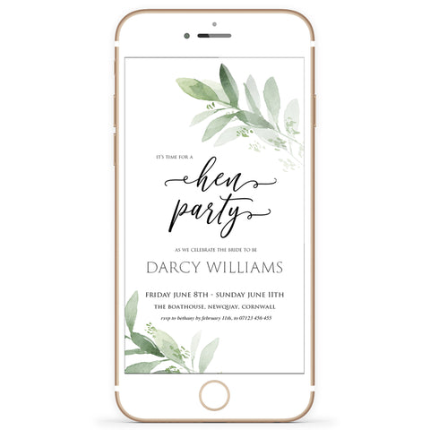 Digital Hen Party Invitation Template - Greenery