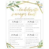 Bachelorette Scavenger Hunt - Gold Greenery