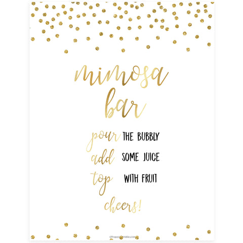 Mimosa Bar Sign - Gold Foil