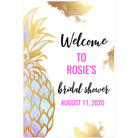 Editable Bridal Shower Welcome Sign - Gold Pineapple