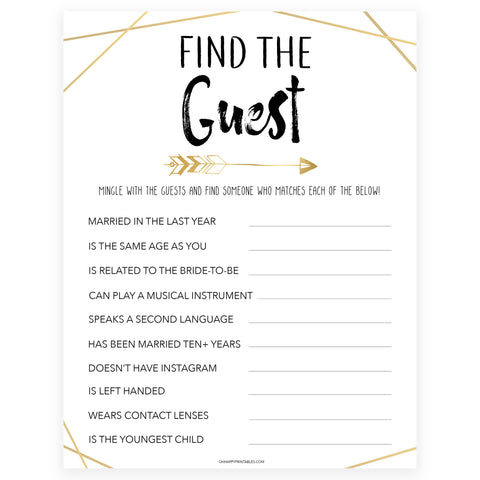Find The Guest Bridal Game - Bride Tribe