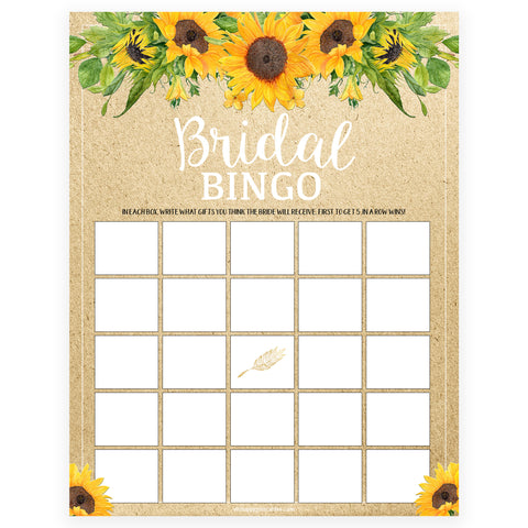 Bridal Bingo Game - Sunflowers