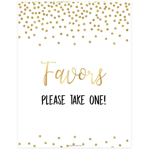 Favors Sign - Gold Foil
