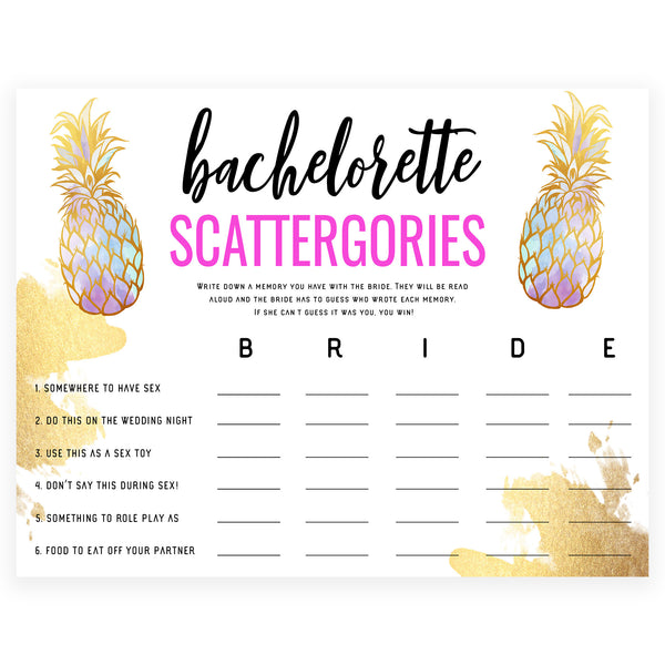 Dirty Scattergories - Gold Pineapple