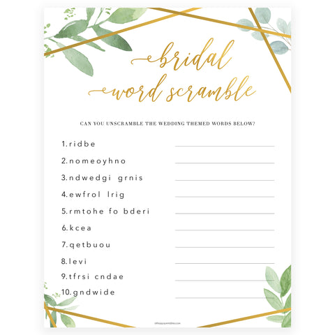 bridal shower word scramble game, printable bridal shower games, fun bridal games, floral bridal shower, gold greenery bridal shower games