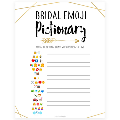 Bridal Emoji Pictionary - Bride Tribe
