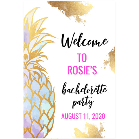 Editable Bachelorette Welcome Sign - Gold Pineapple