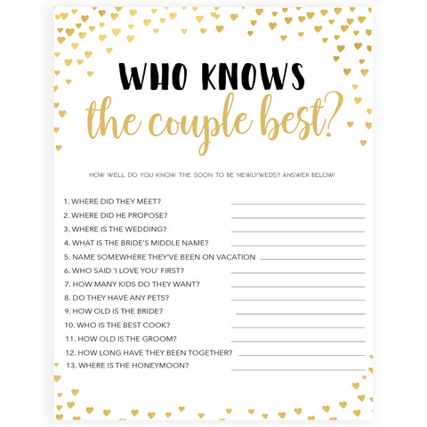 Gold hearts bridal shower games, who knows the couple best, printable bridal games, gold bridal games, gold hearts bridal games, fun bridal games, top bridal games, best bridal games
