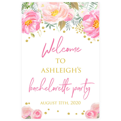 Editable Bachelorette Welcome Sign - Blush & Gold