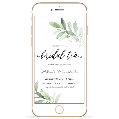 Digital Bridal Tea Invitation Template - Greenery