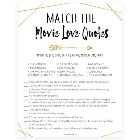 match the movie love quote game, printable bridal shower games, bride tribe bridal shower, printable bridal shower games