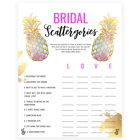 Bridal Scattergories - Gold Pineapple