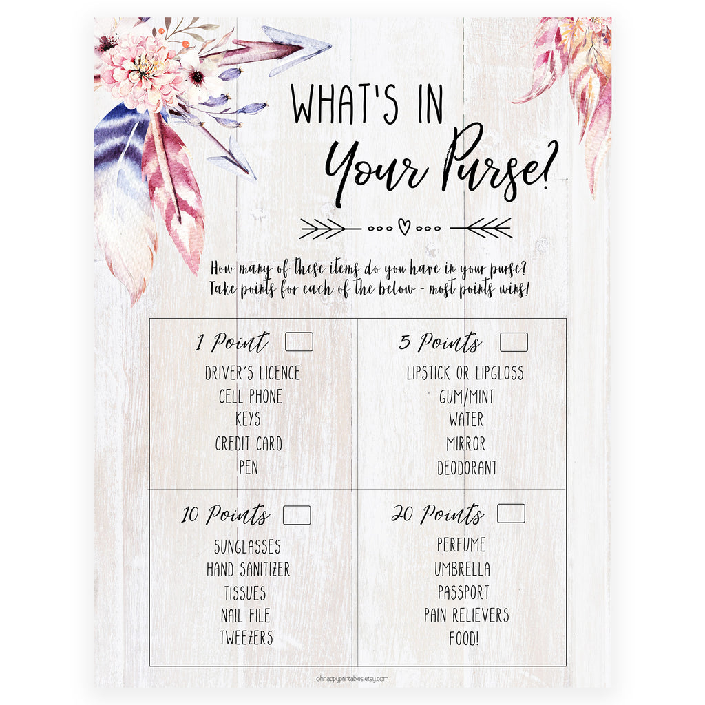 photo relating to What's in Your Purse Game Printable called Whats Inside Your Purse - Boho