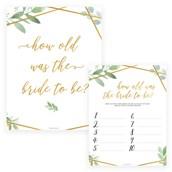 How Old was the Bride Game - Gold Greenery