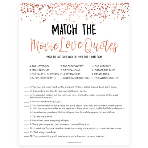 Match the Movie Love Quotes - Rose Gold Foil