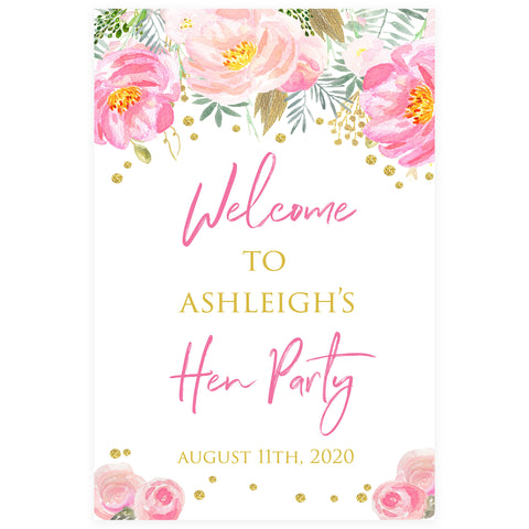 Editable Hen Party Welcome Sign - Blush & Gold