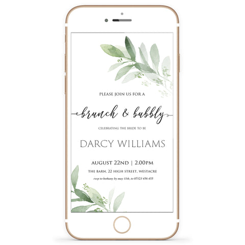 Digital Brunch & Bubbly Invitation Template - Greenery