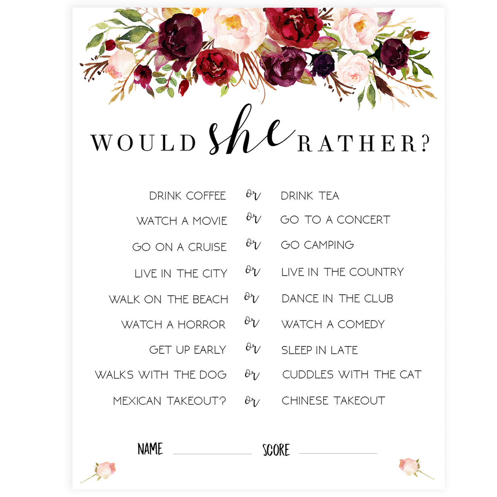 photograph about Would She Rather Bridal Shower Game Free Printable referred to as Would She Alternatively Bridal Sport - White Marsala
