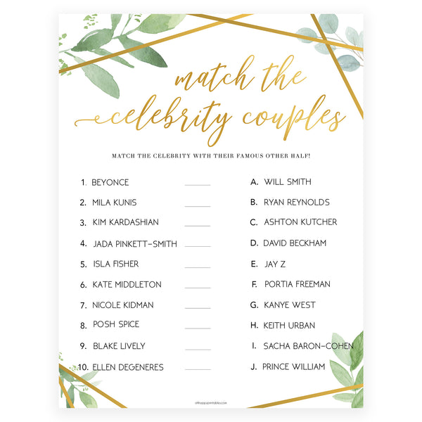 Match Celebrity Couples Game - Gold Greenery
