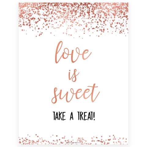 Love is Sweet Sign - Rose Gold Foil