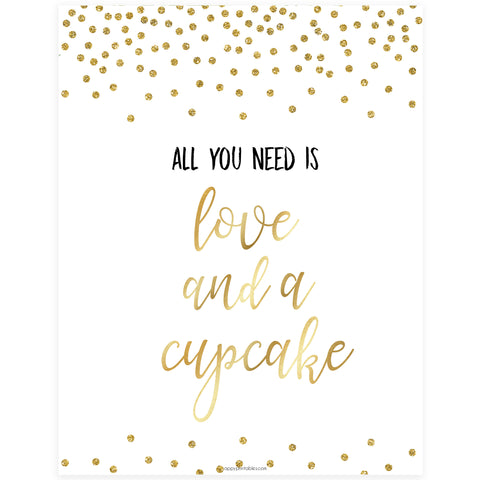 Love & A Cupcake Sign - Gold Foil