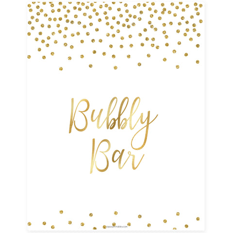 Bubbly Bar Sign - Gold Foil