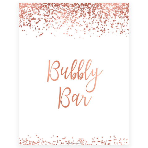 Bubbly Bar Sign - Rose Gold Foil