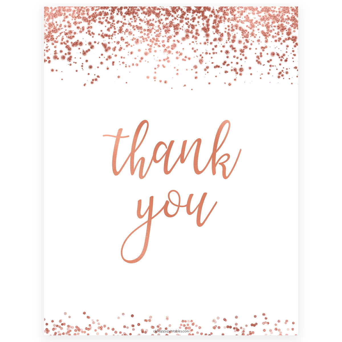 rose gold thank you table sign  printable rose gold
