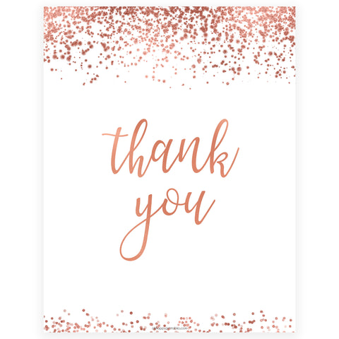 Thank You Table Sign - Rose Gold Foil