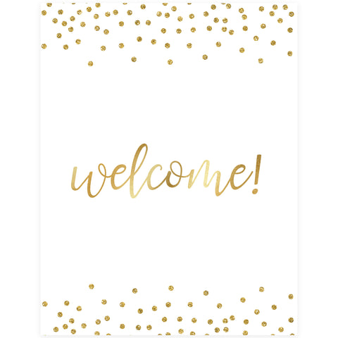 Welcome Table Sign - Gold Foil